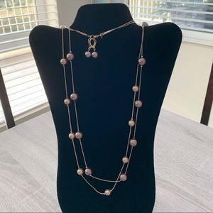 BOGO RMN Champagne Bead Necklace and Earrings